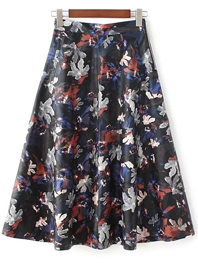 Printed PU Leather Skirt - MULTICOLOR M Mobile