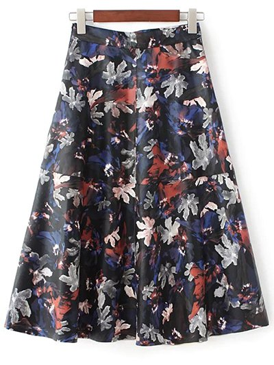Printed PU Leather Skirt - MULTICOLOR S Mobile