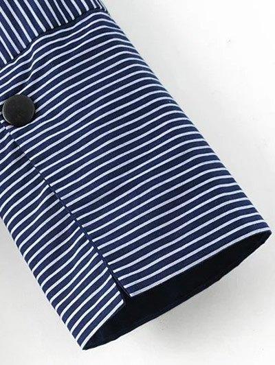 Patch Pocket Striped Blouse - WHITE L Mobile