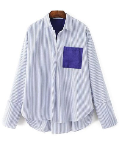 Patch Pocket Striped Blouse - WHITE S Mobile