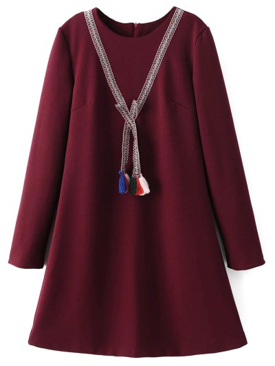 Tasselled Chevron Tunic Dress - BURGUNDY L Mobile