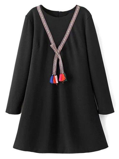 Tasselled Chevron Tunic Dress - BLACK S Mobile