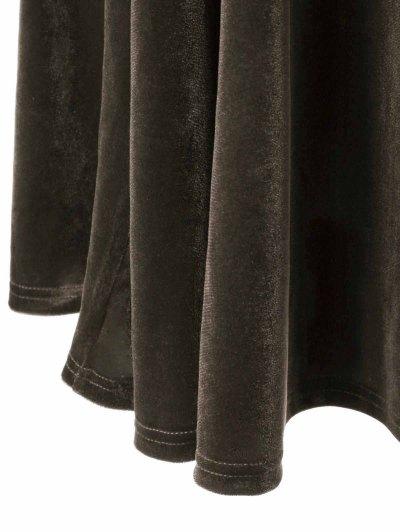 Velvet Bell Sleeves Fit and Flare Dress - BRONZE XL Mobile