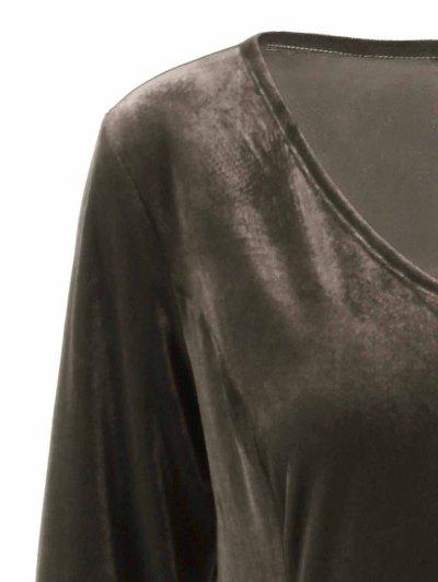 Velvet Bell Sleeves Fit and Flare Dress - BRONZE 5XL Mobile