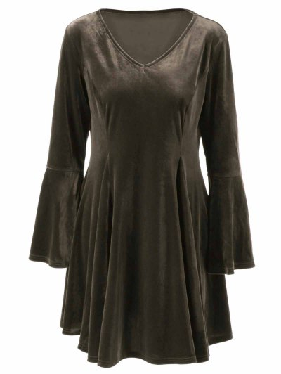 Velvet Bell Sleeves Fit and Flare Dress - BRONZE 4XL Mobile