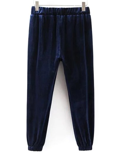 Drawstring Velvet Joggers Pants - CADETBLUE L Mobile