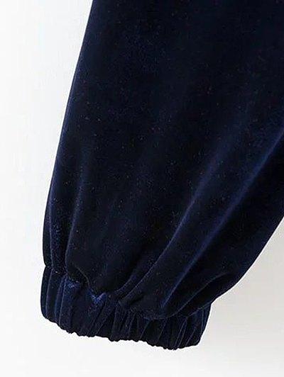 Drawstring Velvet Joggers Pants - CADETBLUE M Mobile