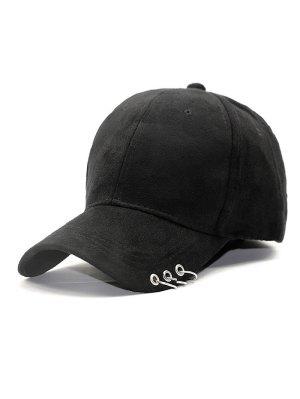 Outdoor Iron Circle Pleuche Baseball Hat - Black