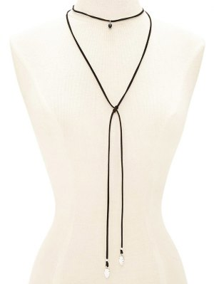 Faux Gem Choker Drawstring Sweater Chain - Black