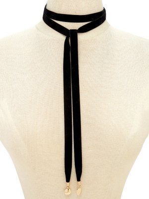 Choker Velvet Drawstring Sweater Chain - Black