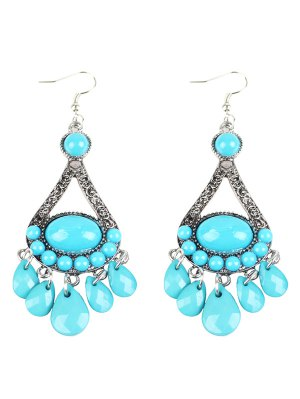 Bohemian Adorn Beads Chandelier Earrings - Windsor Blue