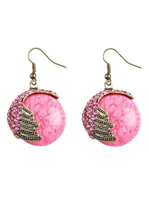 Rhinestoned Natural Stone Drop Earrings - Pink