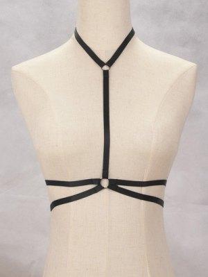 Y Shaped Bra Bondage Harness Body Jewelry - Black