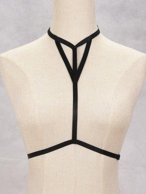 Hollowed Bra Bondage Harness Body Jewelry - Black