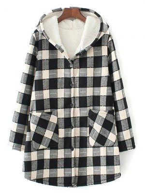 Hooded Plus Size Plaid Fleeced Coat - White And Black