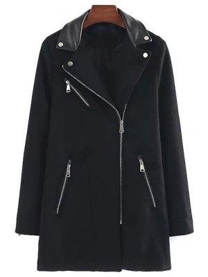 PU Detail Wool Blend Coat - Black