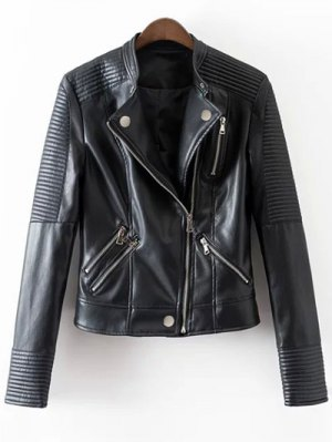 Embossed PU Leather Motocycle Jacket - Black