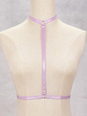 Bra Bondage Harness Cut Out Body Jewelry - Purple