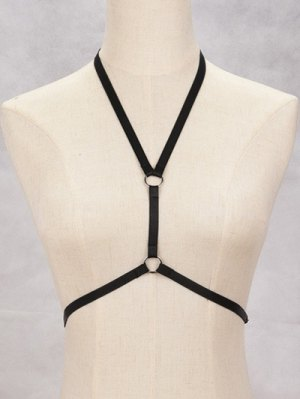 Circle Bra Bondage Harness Body Jewelry - Black