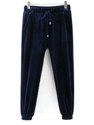 Drawstring Velvet Joggers Pants - Cadetblue