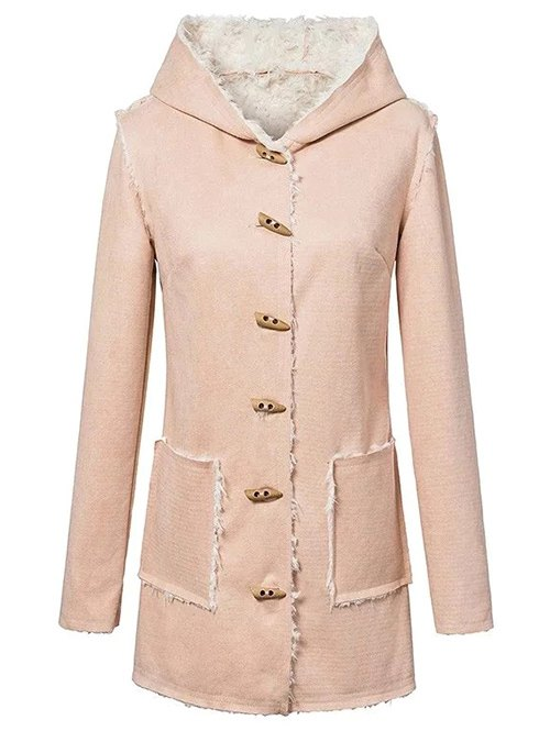 Hooded Sherpa Faux Suede Coat