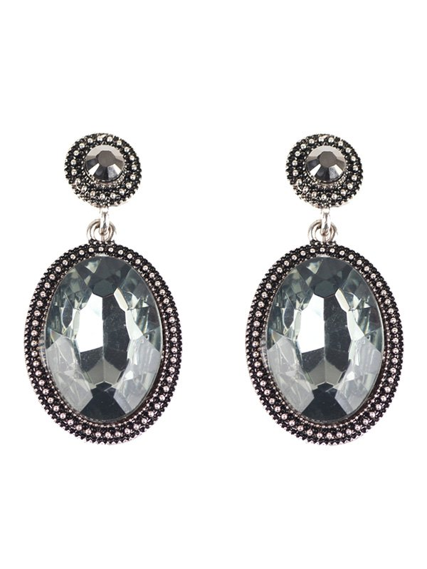 Vintage Rhinestone Oval Drop Earrings