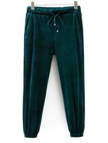 Drawstring Velvet Joggers Pants - Green S