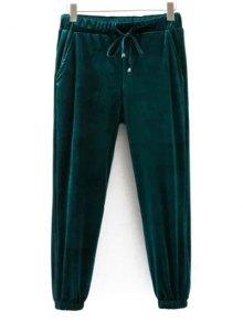 Pantalones Con Cordón De Terciopelo Joggers - Verde