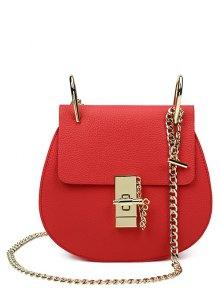 Metallic Chains PU Leather Crossbody Bag - Red