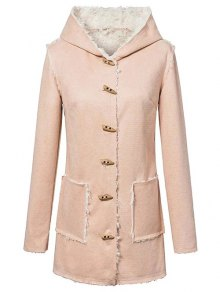 Horn Button Fleeced Faux Suede Coat - Yellowish Pink S