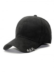 Outdoor Iron Circle Pleuche Baseball Hat - Black