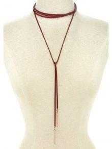 Choker Ribbon Bar Sweater Chain - Red