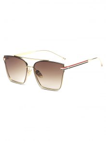 Striped Metal Leg Square Sunglasses - Brown