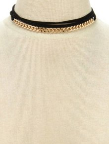 Tassel Neckband Tie Choker Necklace - Golden