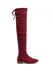 Flat Heel Flock Zipper Thing High Boots - Wine Red