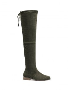 Flat Heel Flock Zipper Thing High Boots - Army Green