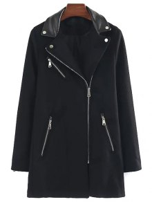 PU Detail Wool Blend Coat - Black M