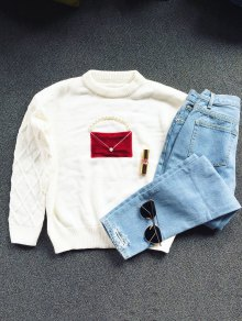 Faux Pearl Crew Neck Patch Sweater