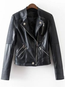 Embossed PU Leather Motocycle Jacket - Black Xl