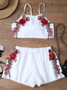 Embroidered Bowknot Top With Shorts - White