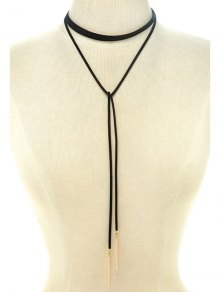 Choker Ribbon Bar Sweater Chain - Black