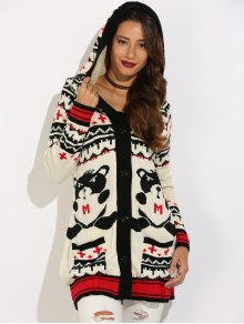 Graphic Geometric Knit Graphic Cardigan - White Xl
