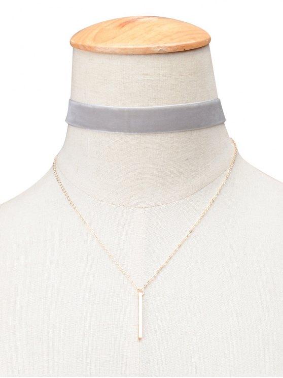 best Vintage Velvet Layered Bar Choker Necklace - GRAY