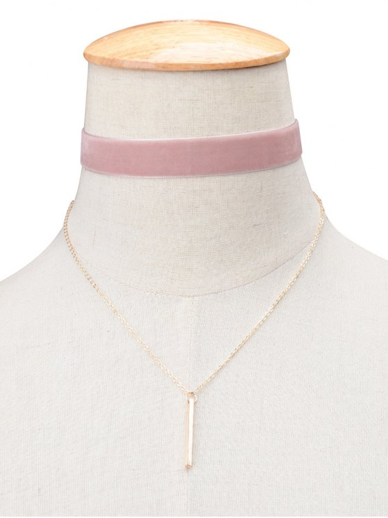 online Vintage Velvet Layered Bar Choker Necklace - PINK