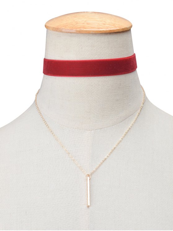 Velours Vintage Layered Bar Collier Choker - Bourgogne