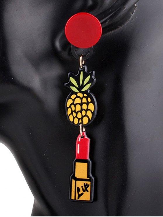 Asymmetric Lipstick Heart Tassel Drop Earrings - COLORMIX  Mobile
