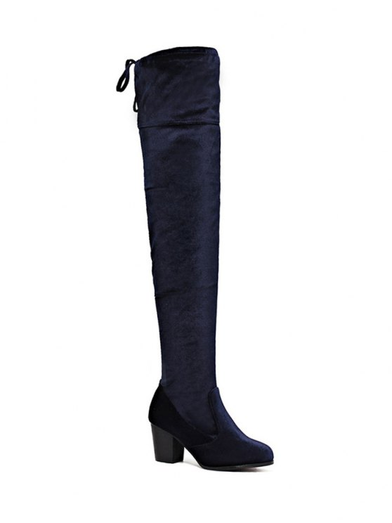 Lace Up Chunky Heel Zip Thigh Boots - DEEP BLUE 39 Mobile