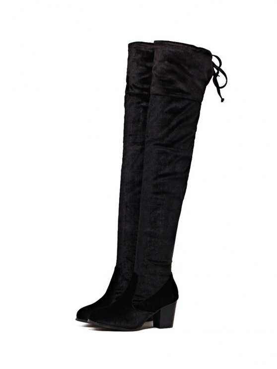 Lace Up Chunky Heel Zip Thigh Boots - BLACK 39 Mobile