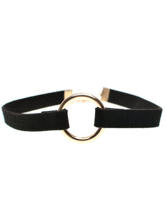 lady Velvet Strip Copper Coil Choker Necklace - BLACK