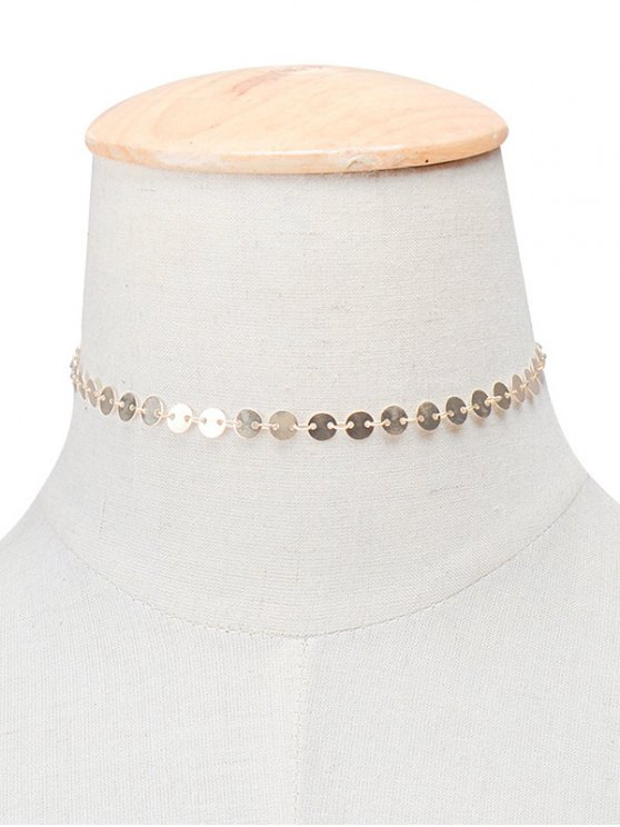 Copper Sequins Choker Necklace - GOLDEN  Mobile